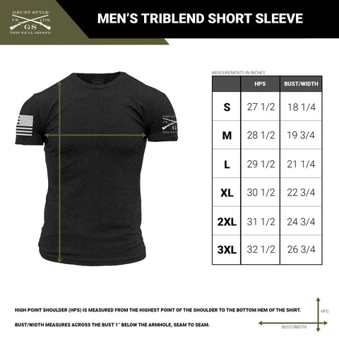 Size chart for the triblend material men's short sleeve t-shirt