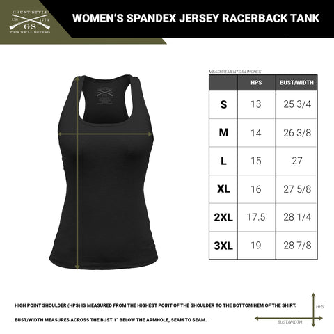 Size chart for the women's fitness tank top with reflective branding on the back