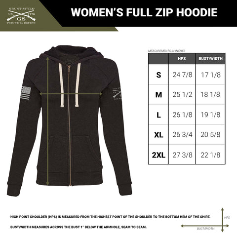 size chart for the women's full zip hoodie