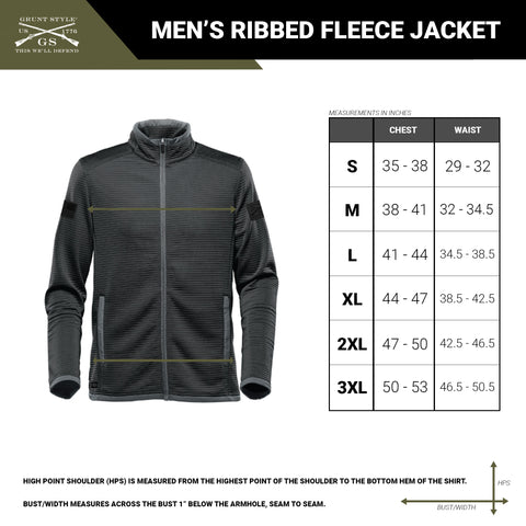 Size chart for the men's outdoor ribbed fleece jacket
