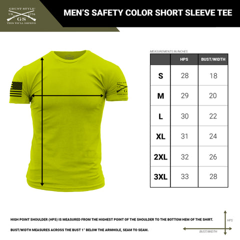 Size chart for the men's short sleeve t-shirt that is available in safety colors
