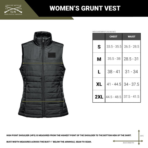 size chart for the women's quilted Grunt Vest