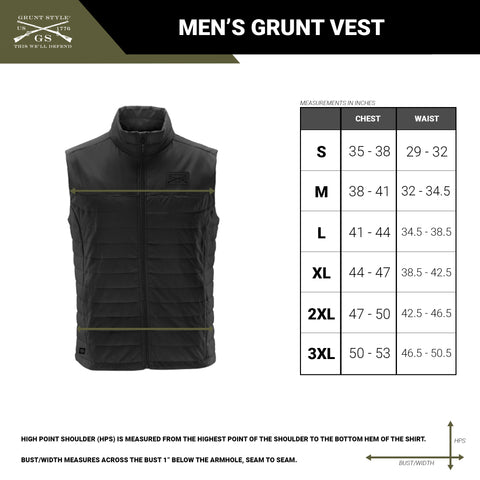 Size chart for the men's quilted Grunt Vest