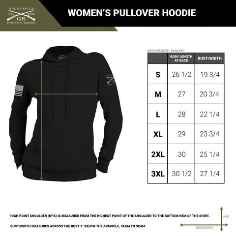 Size chart for the women's pullover hoodie