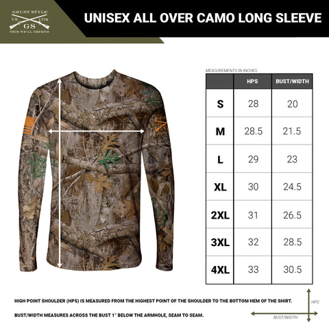 Size Chart for the unisex long sleeve t-shirt with all over camo