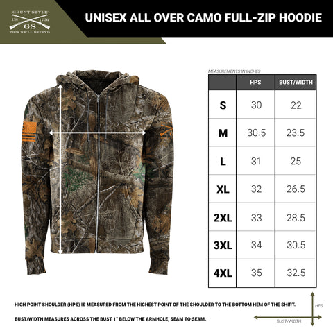 Size chart for the unisex full zip hoodie with all over camo