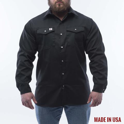 BIG BILL Long Sleeve Button Snap Work Shirt - Black