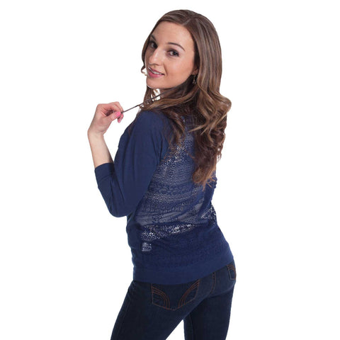 Ladies Lace Blouse - Blue - Back