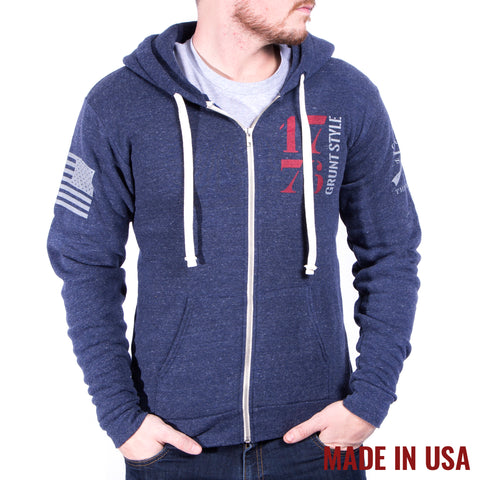 1776 Full Zip Hoodie - Tri Denim Navy