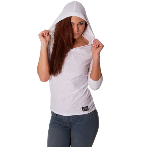 Ladies Hooded ¾ Sleeve Tee - White - Front
