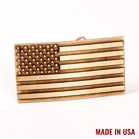 American Flag Brass Buckle