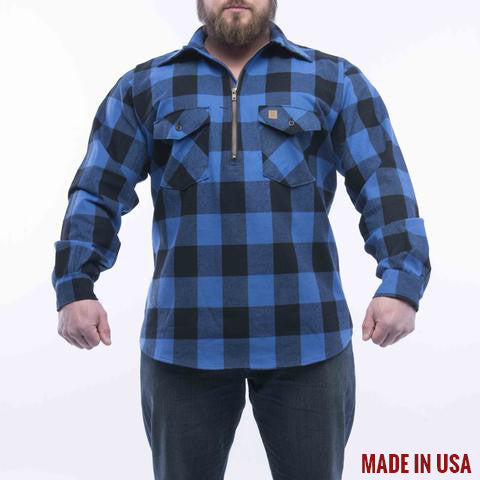 BIG BILL Flannel Work Shirt with Zipper - Royal