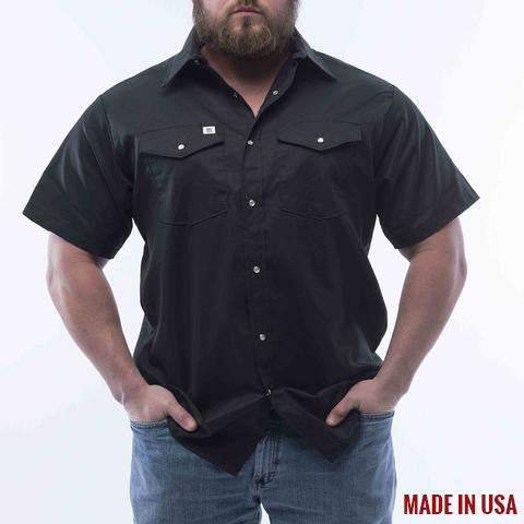 BIG BILL Short Sleeve Button Snap Work Shirt - Black