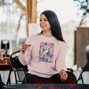 Woman modeling the Women's Good Wine Terry Crew Sweatshirt while drinking her beverage