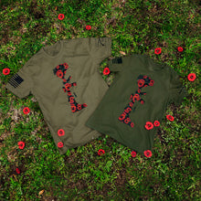 Load image into Gallery viewer, the two battle poppies tees featured together, both in men and women's styles