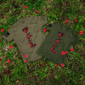 the two battle poppies tees featured together, both in men and women's styles