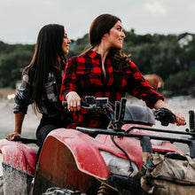 Load image into Gallery viewer, Grunt Style Women's Black Plaid Flannel