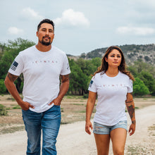 Load image into Gallery viewer, Woman and Man walking together and wearing the USA 76 short sleeve graphic t-shirts, available in a men and women's fit