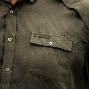 Grunt Style Long Sleeve Fishing Shirt - Olive