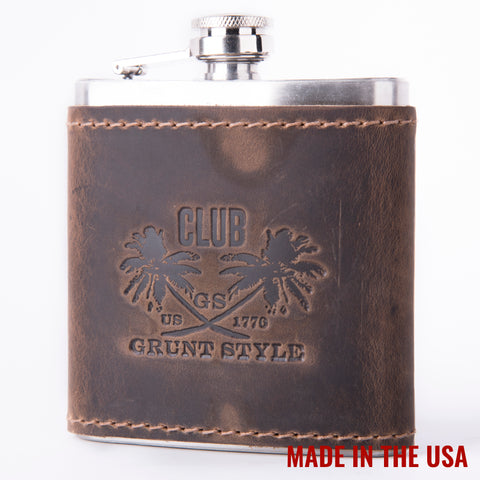 Brown Leather Club Flask