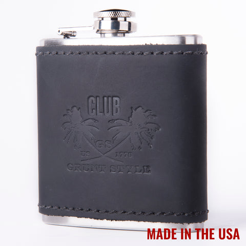 Black Leather Club Flask