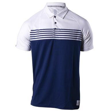 Front of the Grunt Style Chest Stripe Polo in the White and Navy color combination, featuring the three button placard