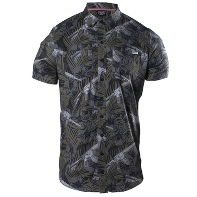 Front image of the Grunt Style Death Flower Short Sleeve Button Down