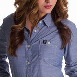 Ladies Blue Pro Button Up