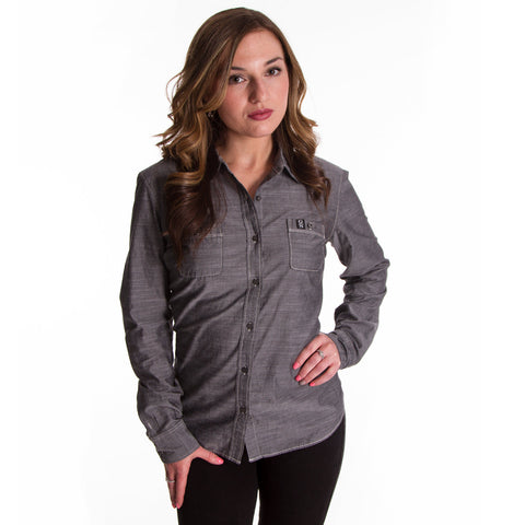Ladies Grey Pro Button Up