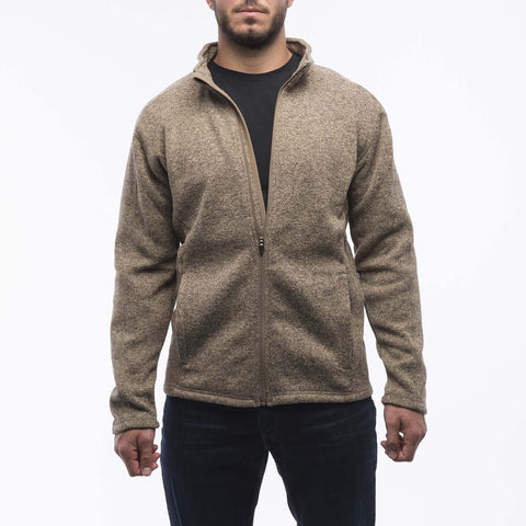 Khaki Full Zip Sweater Fleece Jacket