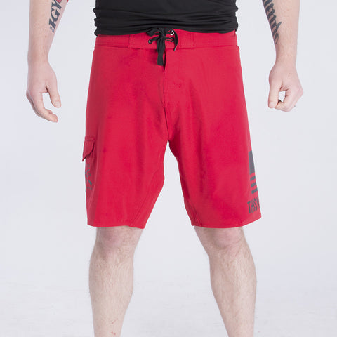 Red Moto Board Shorts