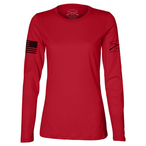 Ladies Red Long Sleeve Moto Basic