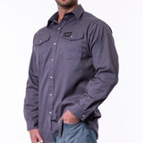 Long Sleeve Snap Work Shirt - Charcoal