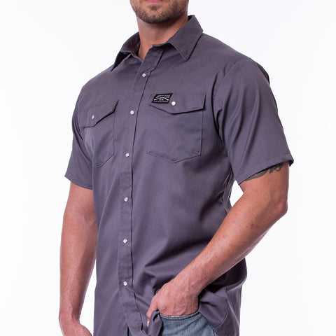 Short Sleeve Snap Work Shirt - Charcoal