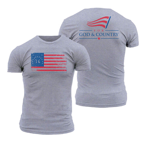 For God and Country - Bennington Flag Grey