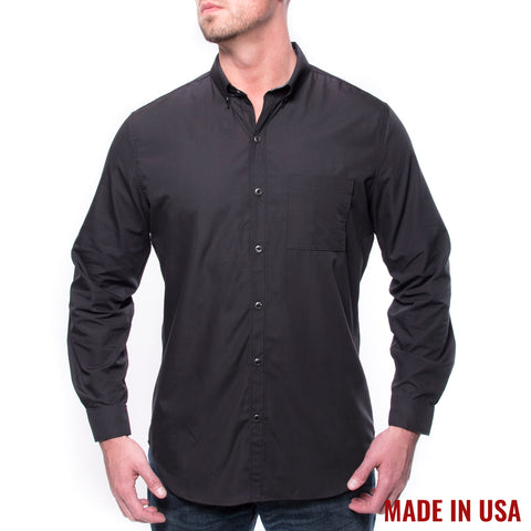 Grunt Style Men's <br><i>Lexington & Concord</i></br> Poly/Cotton Long Sleeve Shirt - Black