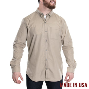 Grunt Style Men's <br><i>Lexington & Concord</i></br> Poly/Cotton Long Sleeve Shirt - Khaki