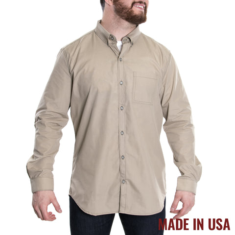 Grunt Style Men's Lexington Poly/Cotton Long Sleeve Shirt - Khaki