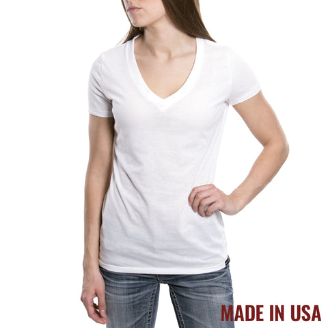 Women's V-Neck - White