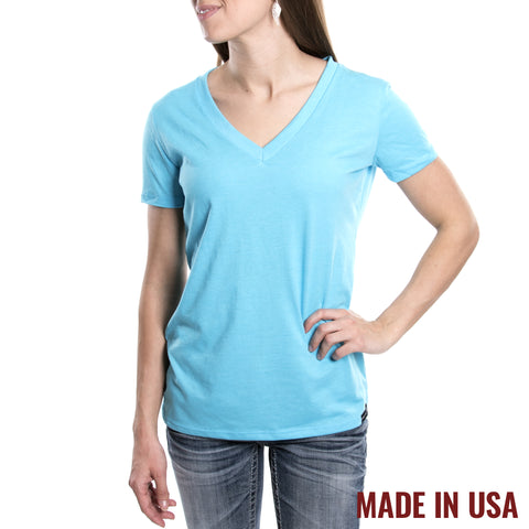 Women's V-Neck - Heather Turquoise