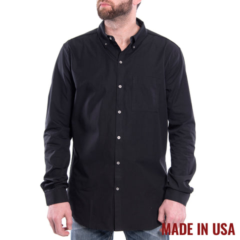 Grunt Style Men's <br><i>Lexington & Concord</i></br> Cotton Long Sleeve Shirt - Black</br>