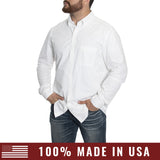 Grunt Style Men's Lexington Cotton Long Sleeve Shirt - White