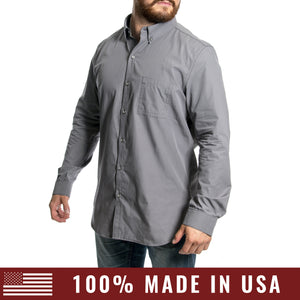 Grunt Style Men's <br><i>Lexington & Concord</i></br> Cotton Long Sleeve Shirt - Cool Grey