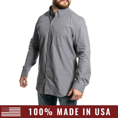 Grunt Style Men's Lexington Cotton Long Sleeve Shirt - Cool Grey