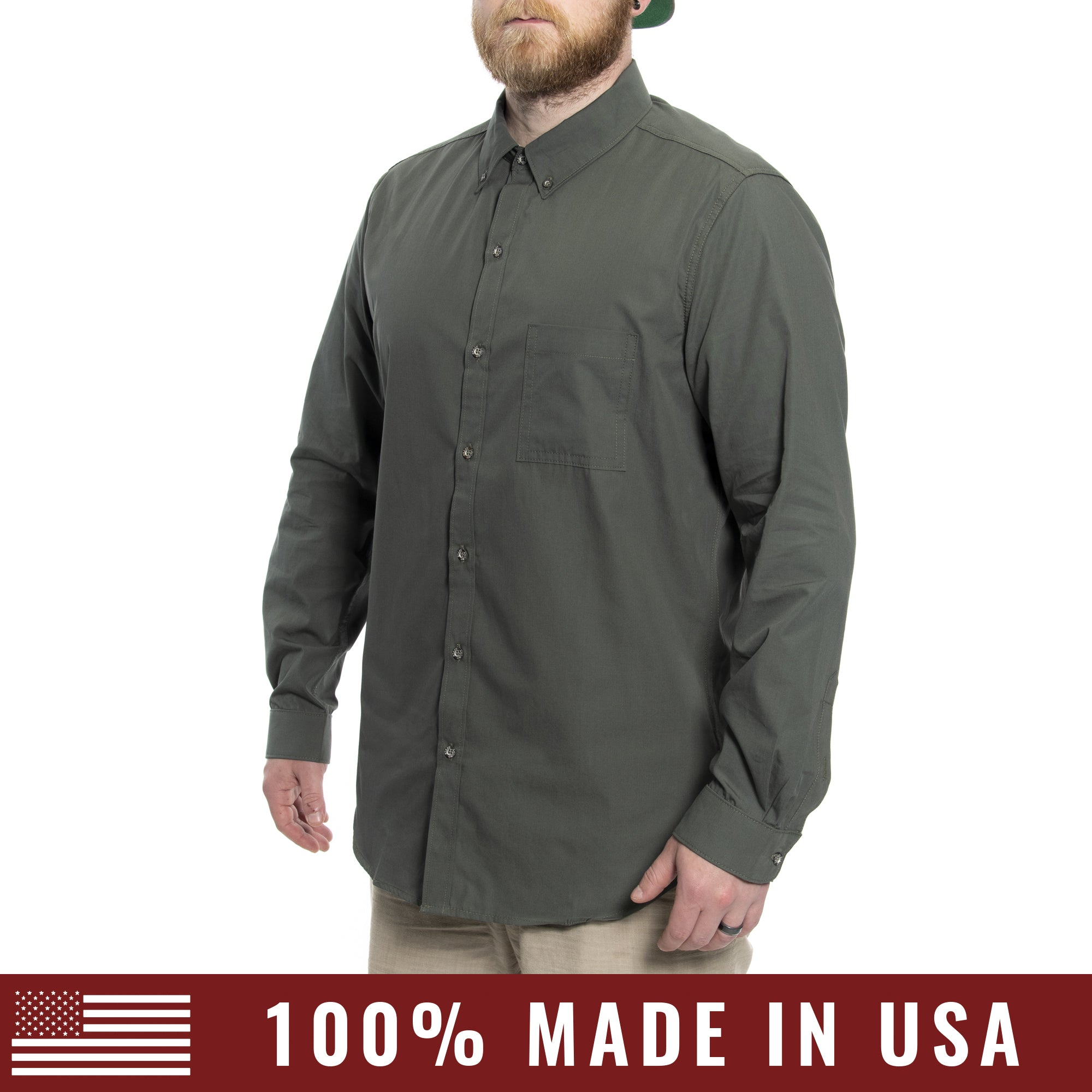Grunt Style Men's <br><i>Lexington & Concord</i></br> Cotton Long Sleeve Shirt - OD Green