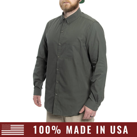 Grunt Style Men's Lexington Cotton Long Sleeve Shirt - OD Green