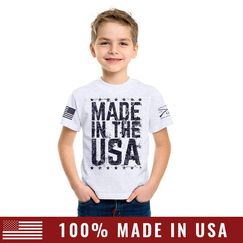 Youth Made In The USA Tee - Heather Grey
