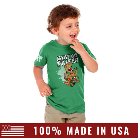 Toddler T-Rex Must Go Faster Tee - Kelly