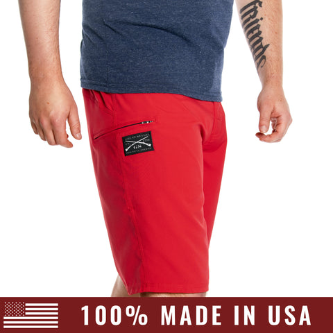 Men's 2-Way Stretch Board Shorts - Red