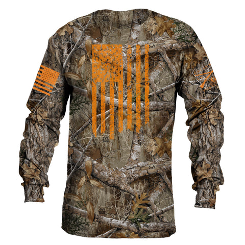 Realtree Edge® Long Sleeve Tee - Blaze Vertical Flag